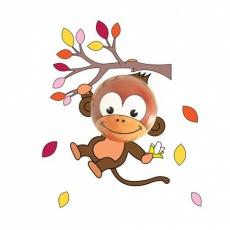Babyzoo Dětské noční světlo se samolepkou na zeď Opička Momo girl