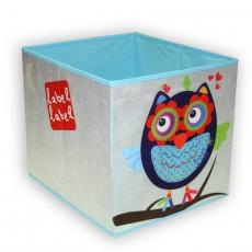 Label-label Úložný box na hračky Sova - modrá
