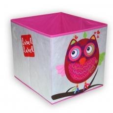 Label-label Úložný box na hračky Sova - růžová