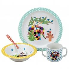 Petit jour paris Dětský jídelní set slon Elmer